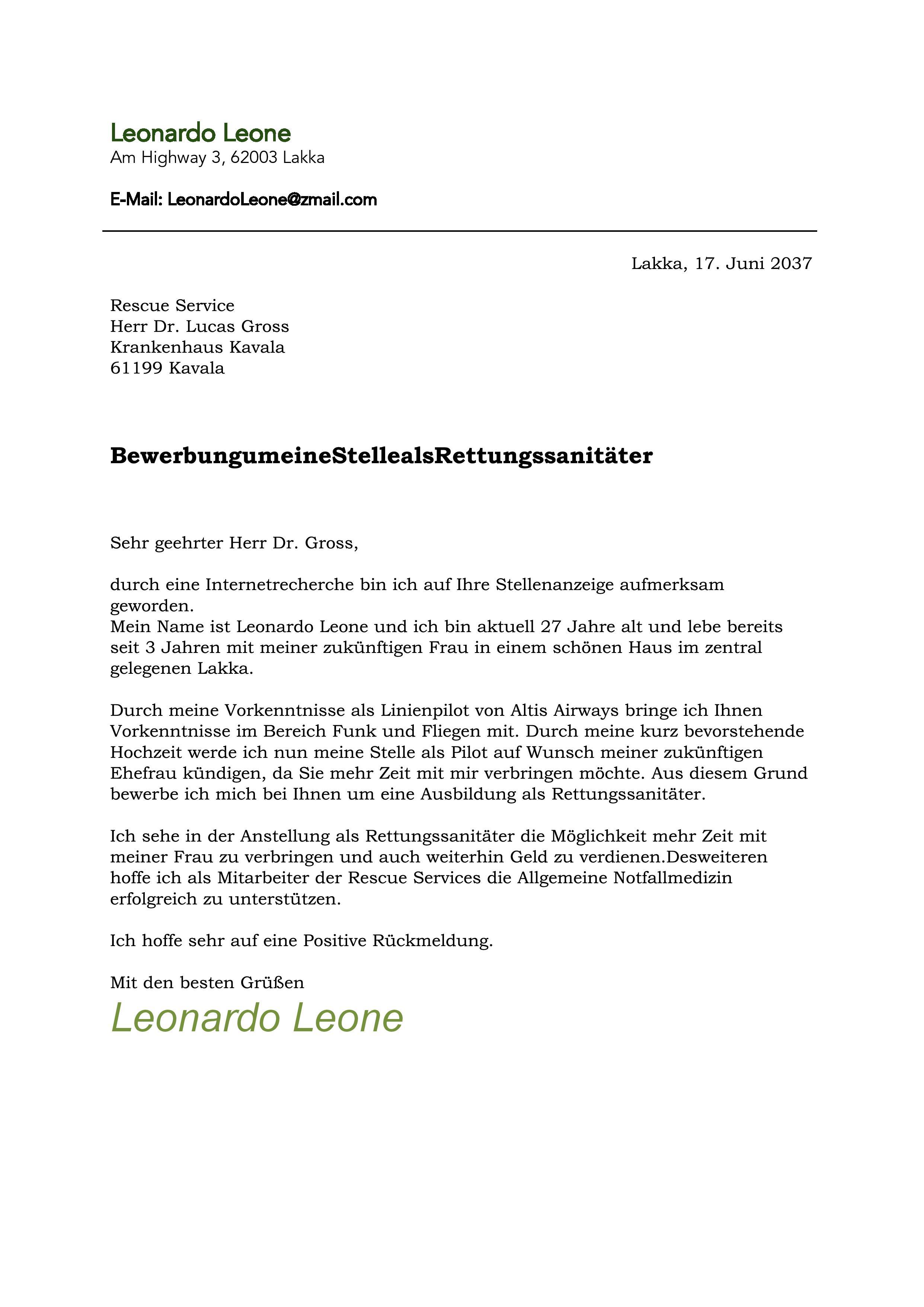 Bewerbung zum Rettungssanitäter Leone - Abgeschlossene ... | {Rettungssanitäter ausbildung 69}